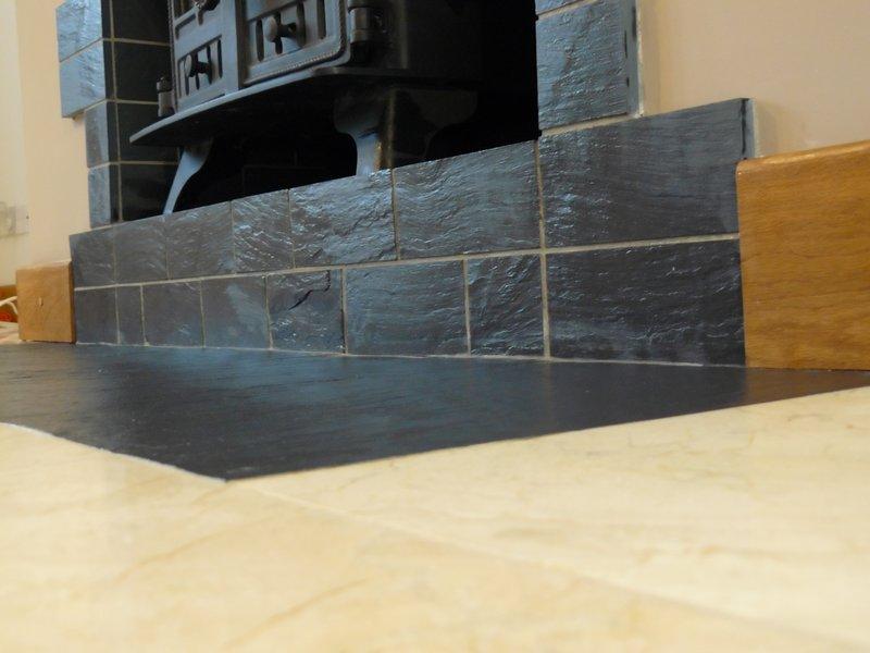 Slate tile fire place