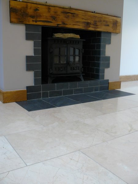Slate tile fire place